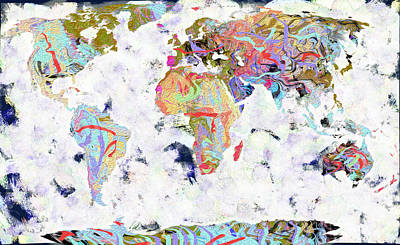 Library Digital Art - World Map The World by Suren Nersisyan