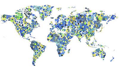 Painting - World Map Touristic Spots  by Irina Sztukowski