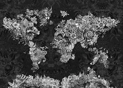 Digital Art - World Map Tropical Leaves 4 by Bekim Art
