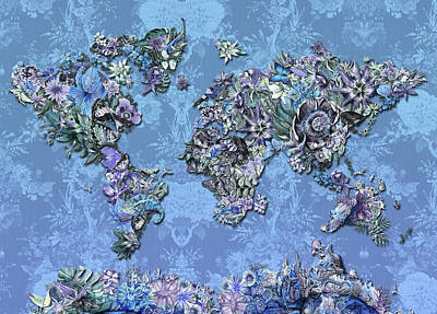 Digital Art - World Map Tropical Leaves 5 by Bekim Art