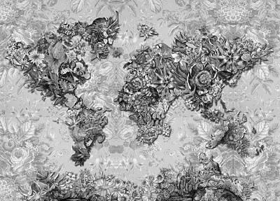 Digital Art - World Map Tropical Leaves 6 by Bekim Art