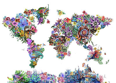 Europe Digital Art - World Map Tropical Leaves by Bekim Art