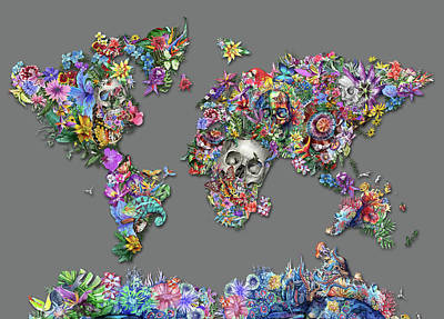Europe Digital Art - World Map Tropical Skull Leaves 2 by Bekim Art