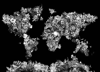 Digital Art - World Map Tropical Skull Leaves 4 by Bekim Art