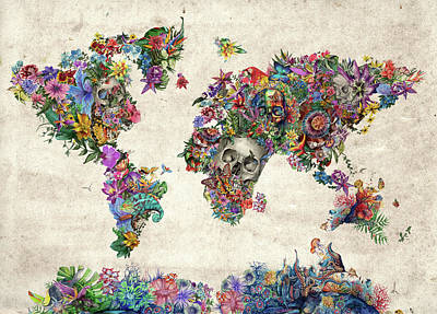 Europe Digital Art - World Map Tropical Skull Leaves by Bekim Art