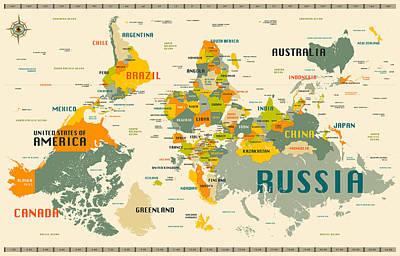 World Map Upside Down Art Print by Jazzberry Blue