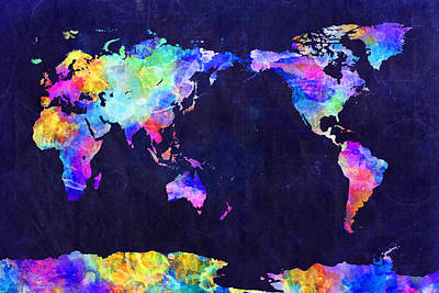 Digital Art - World Map Urban Watercolor Pacific by Michael Tompsett