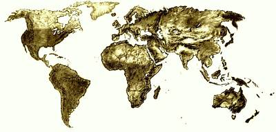 Drawing - World Map Vintage by Heidi Kriel
