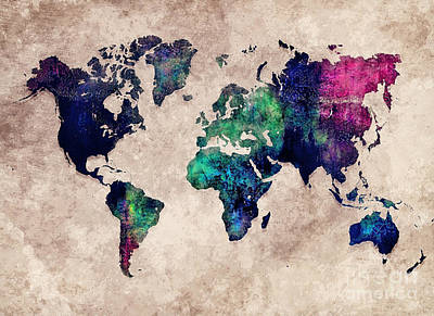 Watercolor Map Painting - World Map Watercolor 1 by Justyna JBJart
