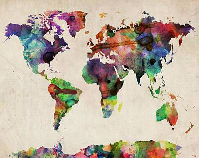 World Map Watercolor 16 X 20 Art Print by Michael Tompsett