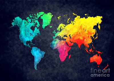 Watercolor Map Painting - World Map Watercolor 6 by Justyna JBJart