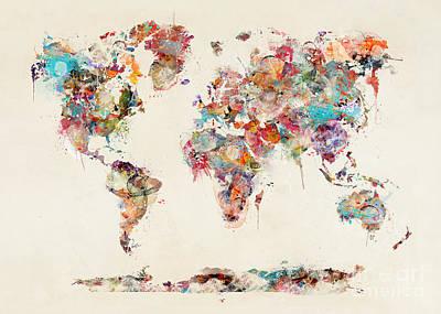 Painting - World Map Watercolor by Bleu Bri