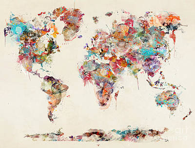 Painting - World Map Watercolor Deux by Bleu Bri