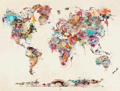 Painting - World Map Watercolor Deux by Bleu Bri
