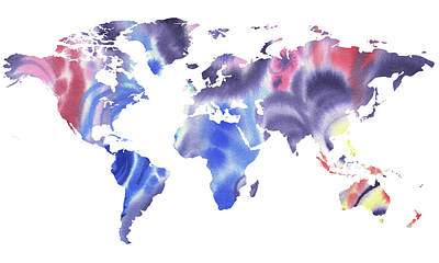 Painting - World Map Watercolor In Blue Silhouette  by Irina Sztukowski