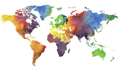 Painting - World Map Watercolor by Irina Sztukowski