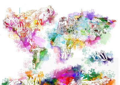Map Of Canada Digital Art - World Map Watercolor Landmarks by Bekim Art