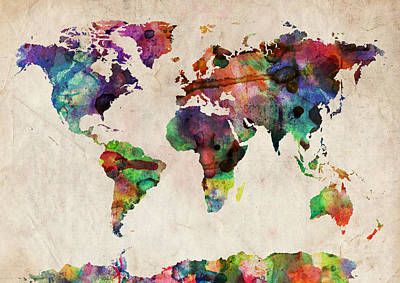 Panoramic Digital Art - World Map Watercolor by Michael Tompsett