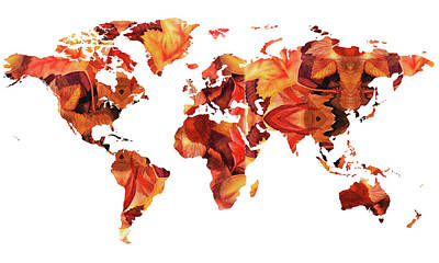 Painting - World Map Watercolor Silhouette  by Irina Sztukowski