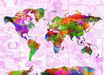Map Of Canada Digital Art - World Map Watercolor Vintage by Bekim Art