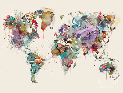 Painting - World Map Watercolors by Bri B