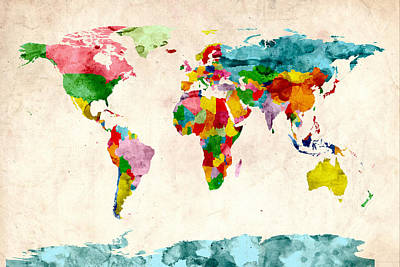 World Map Watercolors Print by Michael Tompsett