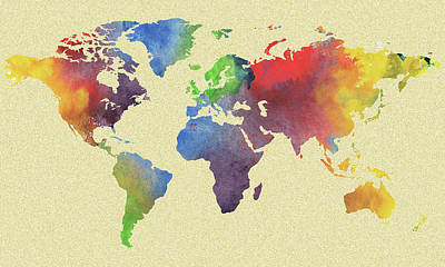 Painting - World Map Watercolour Silhouette by Irina Sztukowski