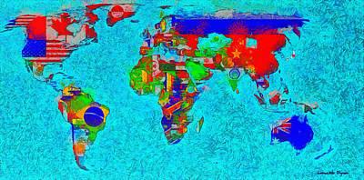 Atlantic Ocean Digital Art - World Map With Flags - Da by Leonardo Digenio