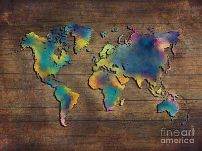Colored Digital Art - World Map Wood by Justyna JBJart
