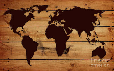 Dinosaur Map Digital Art - World Map Wood  by Mark Ashkenazi