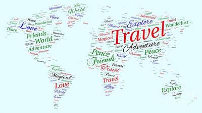 Digital Art - World Map Word Art by Traci Law