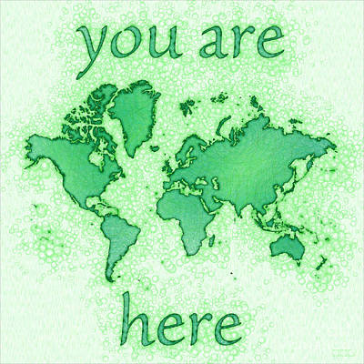 World Map You Are Here Airy In Green And White Art Print
