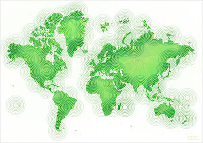 World Map Zona In Green And White Art Print