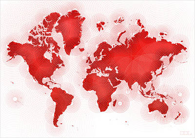 World Map Zona In Red And White Art Print