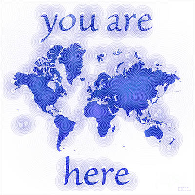 World Map Zona You Are Here In Blue And White Art Print