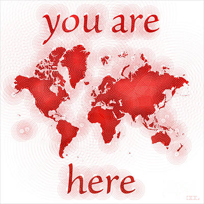 World Map Zona You Are Here In Red And White Art Print by Eleven Corners