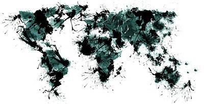 White Digital Art - World Maps 10 by Prar Kulasekara