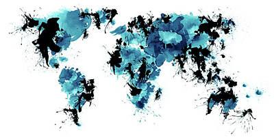 Cut Out Drawing - World Maps 4 by Prar Kulasekara