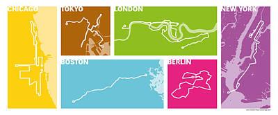 Marathon Digital Art - World Marathon Majors 2016 #1 by Big City Artwork