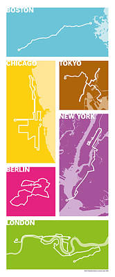 Marathon Digital Art - World Marathon Majors 2016 #2 by Big City Artwork