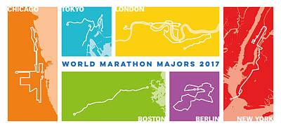 Personalized Digital Art - World Marathon Majors 2017 Horizontal by Big City Artwork