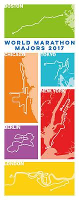 Personalized Digital Art - World Marathon Majors 2017 Vertical by Big City Artwork