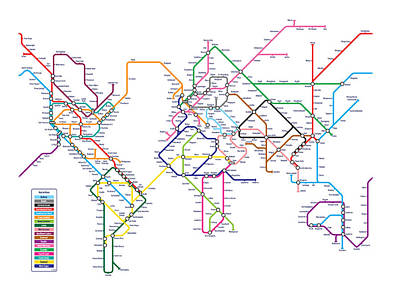 Modern Digital Art - World Metro Map by Michael Tompsett