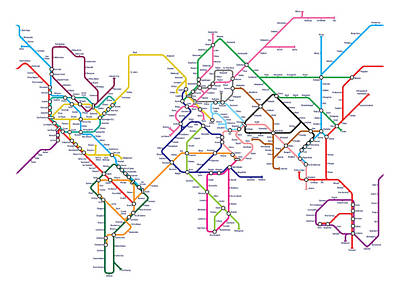 Global Digital Art - World Metro Tube Map by Michael Tompsett