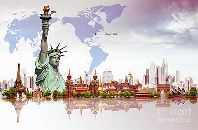 Painting - World Of New York  by Gull G