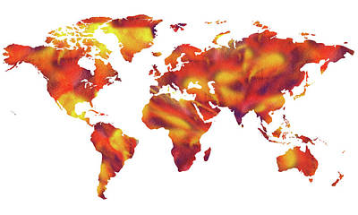 Painting - World On Fire Watercolor Map by Irina Sztukowski