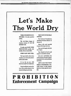 Ad Campaign Photograph - World Prohibition Campaign  1920 by Daniel Hagerman