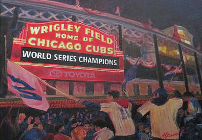Wrigley Field Painting - World Series 2016 by Marietta Faso