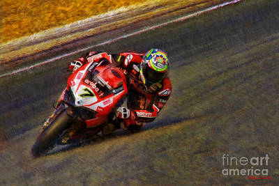 Photograph - World Superbike Chaz Davies Ducati Lays It Over  by Blake Richards