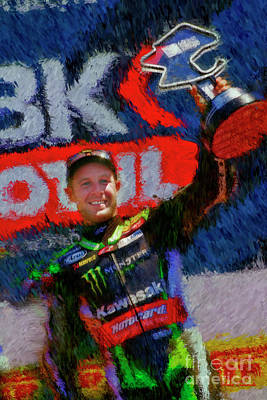 Photograph - World Superbikes Jonathan Rea Laguna Seca Victory by Blake Richards